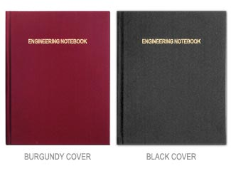 engineering notebooks with black or burgundy cover